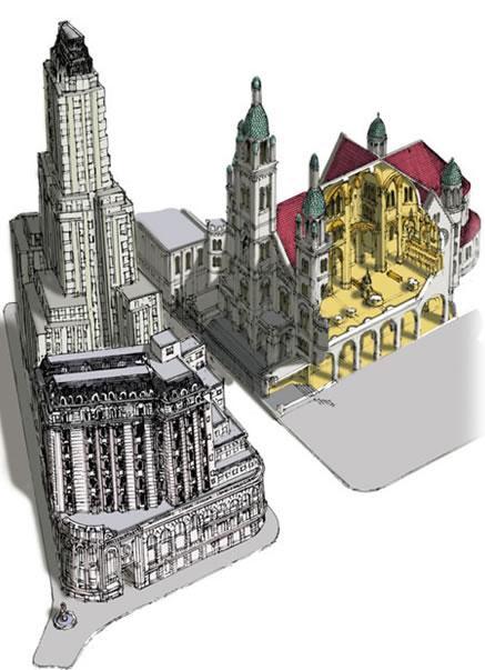 Figura igleasi y edificio